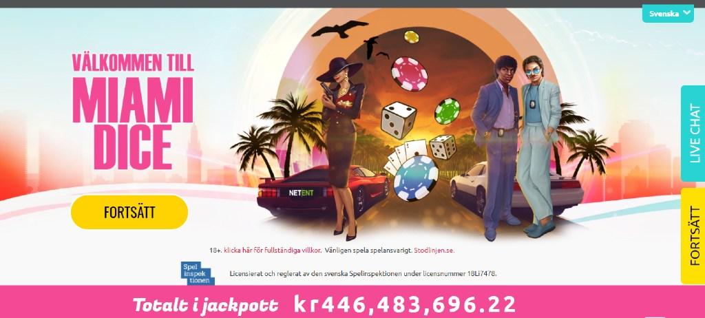 Miami Dice-hemsidan visar den nuvarande jackpotten och några karaktärer som står framför två bilar med en Miami-inspirerad bakgrund