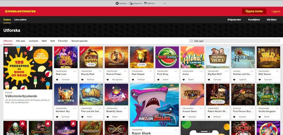 överblick över spelutbudet på Mobilautomaten där du kan välja mellan ett flertal speltitlar eller utforska annat