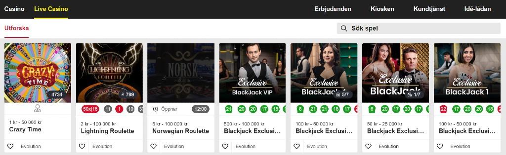 överblick av tillgängliga live casino-spel på Mobilautomaten och huvudmenyn på sidan