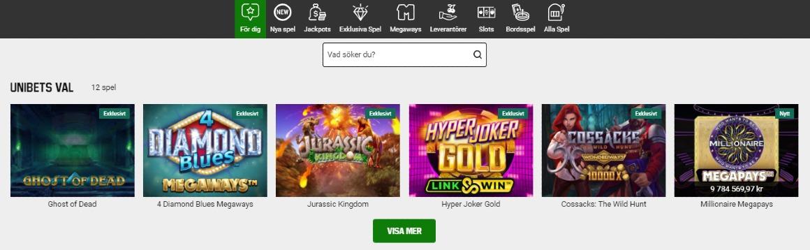 Spelutbud hos Unibet casino