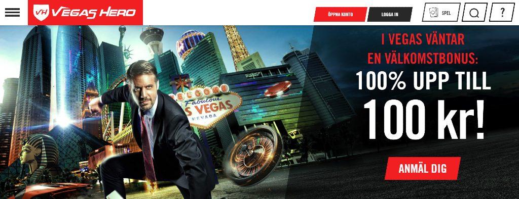 Vegas Hero-hemsidan visar deras nuvarande erbjudande på 100% och en man i kostym som slår knytnäven ner mot marken framför en Las Vegas-bakgrund