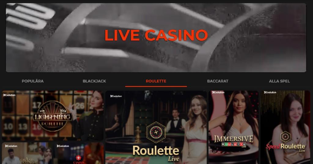 Live casino spel hos Klirr casino