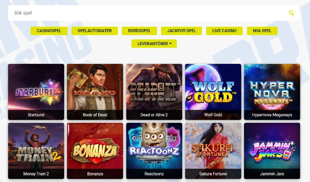 Spelutbud och kategorier hos Prank Casino