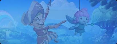 En ung pirat med ett träsvärd gungar sig fram med sin krok brevid en docka som liknar en fé