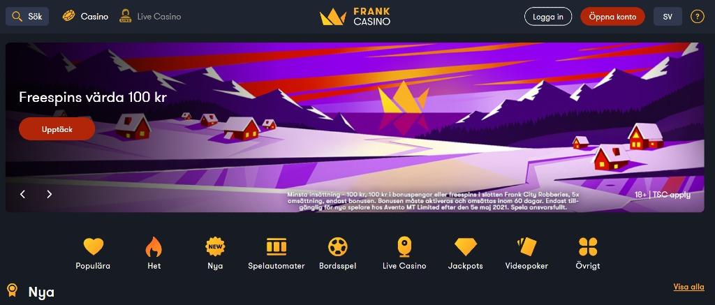 Förstasidan hos Frank Casino med deras nuvarande erbjudande, huvudmeny och spelkategorier