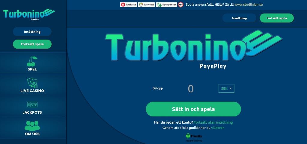 Hemsida för Turbonino casino