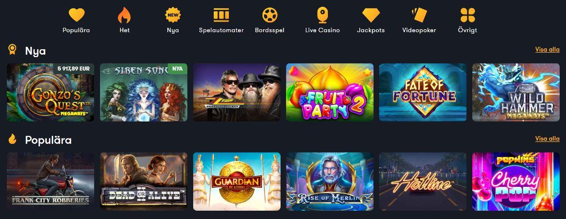 Spelkategorier och slotspel hos Frank Casino