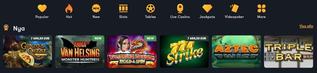 """Tillgängliga speltitlar under kategorin """"Nya"""" tillsammans med övriga spelkategorier på Frank Casino"""