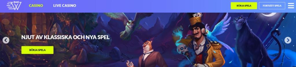 Instantwest-hemsida visar deras meny och fantasikaraktärer med en trollkarl längs fram