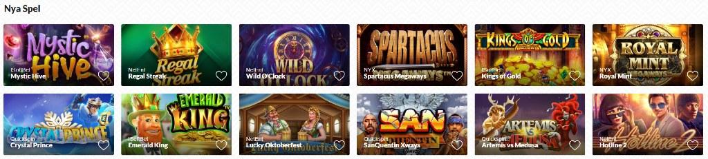 Flera casino spel hos Instantwest under kategorin för nya spel