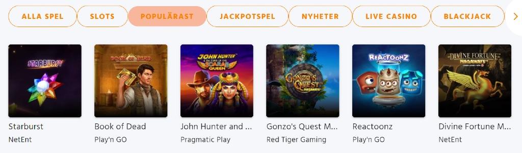 Casinospel hos Expekt