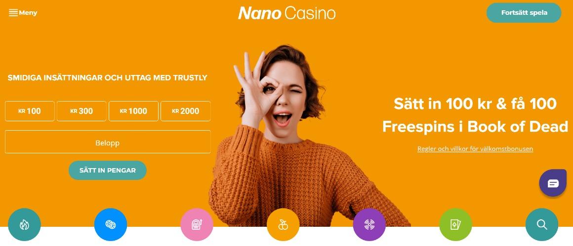 Förstasidan på Nano casino med deras välkomstbonus och spelkategorier