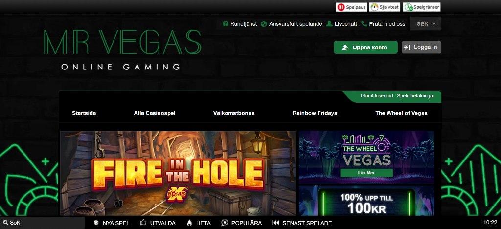 Förstasidan hos Mr Vegas casino visar aktuella erbjudanden och huvudmenyn