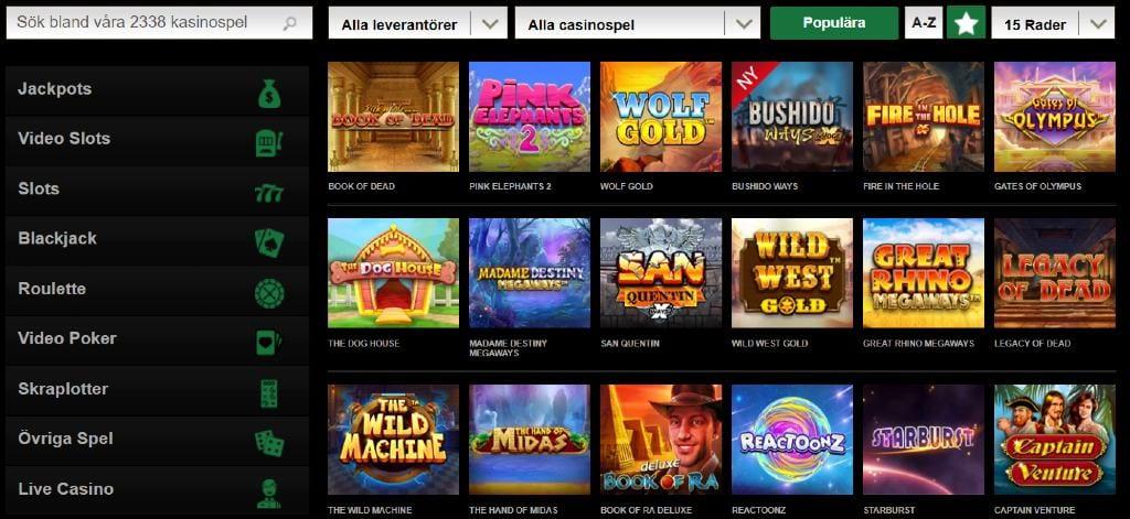 Urval av tillgängliga spel på Mr Vegas brevid tillgängliga spelkategorier