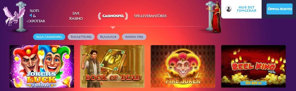 Spelsidan på Casino Gods med olika kategorier att välja mellan, som bland annat Live Kasino och casinospel