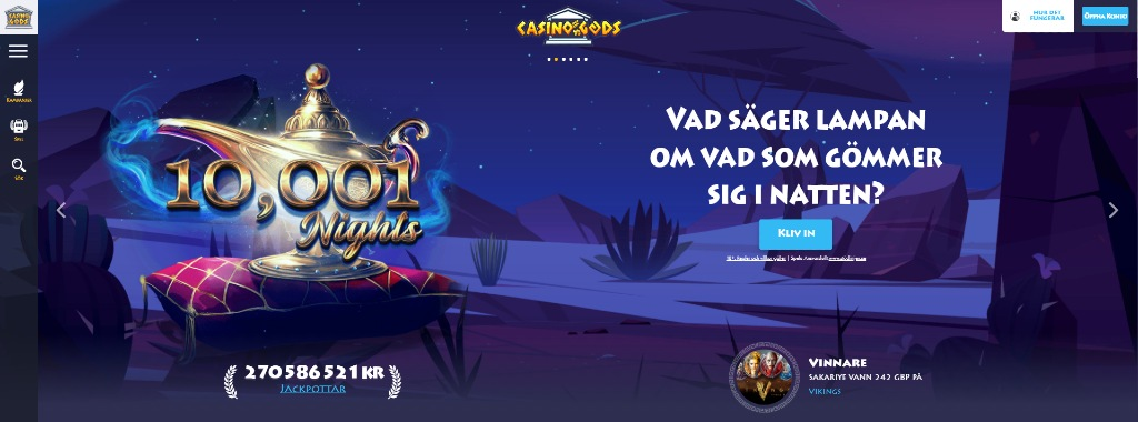 Casino Gods-hemsida visar deras huvudmeny och nuvarande kampanjer - denna gång i slotspelet 10001 Nights där Aladdins lampa klär sidan och ger en förtrollande känsla