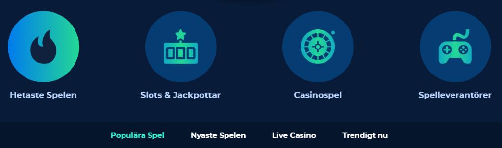 """Tillgängliga spelkategorier på Casino Planet som erbjuder spelare att filtrera alla spel via """"Hetaste spelen"""", """"Slots & jackpottar"""", """"Casinospel"""" och """"Spelleverantörer"""""""