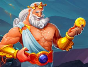 En gammal grekisk gud med långt vitt skägg och hår som håller upp ett guld mynt