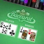 upplägg för ett baccarat-casinospel med spelkort och spelmarker