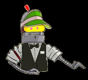 En robot-dealer som håller fram sin hand