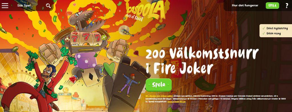 Casoola casino-hemsida med en robot-illustration, det nuvarande erbjudandet och deras huvudmeny