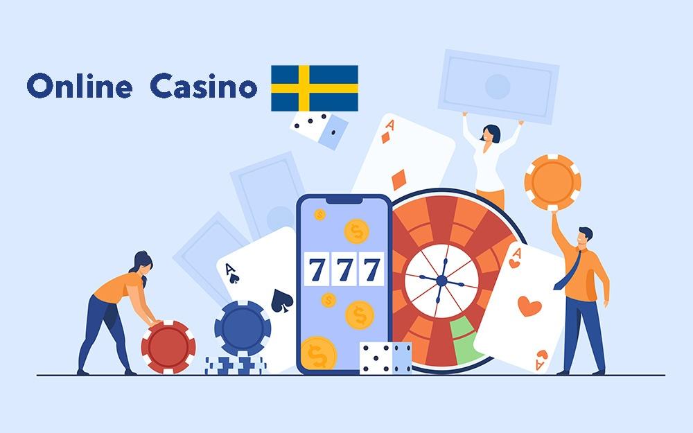 Tre tecknade personer som håller upp olika objekt relaterade till ett casino, som spelmarker och pengar, med en mobil och ett roulette-hjul i mitten