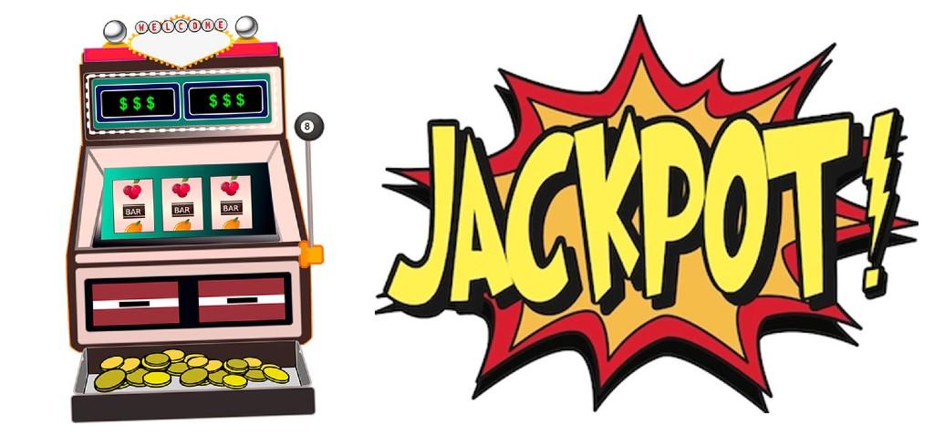 """En klassisk jackpottmaskin brevid en exploderande text som säger """"JACKPOT!"""""""