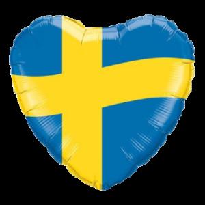 hjärtformad ballong med den svenska flaggan