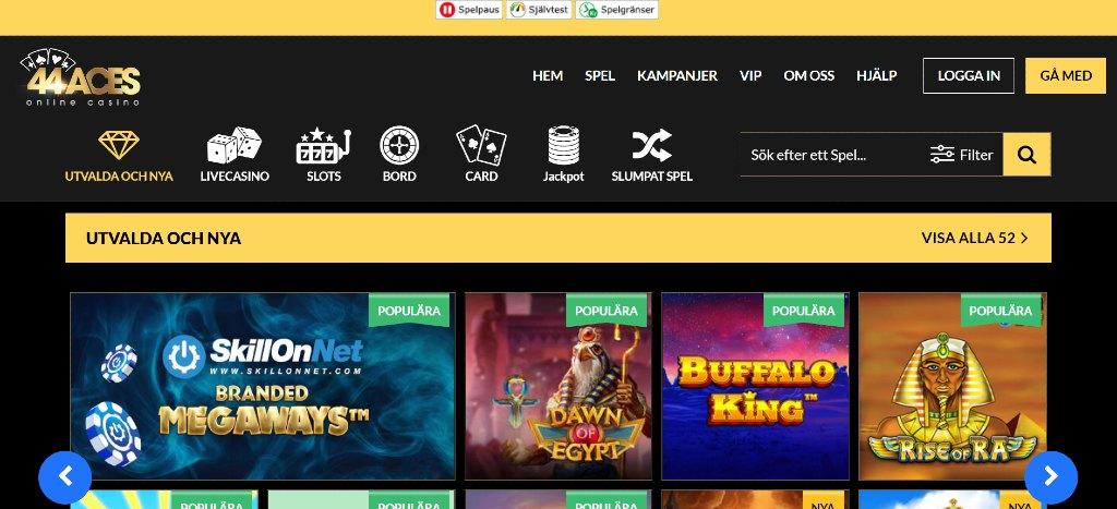 Första sidan hos 44Aces casino med spelkategorier och nya spel