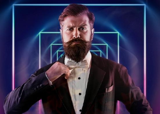 Buster från Buster Banks casino, en man med stort skägg och svart kostym