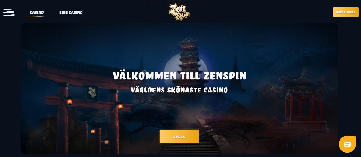 Förstasidan på ZenSpin casino