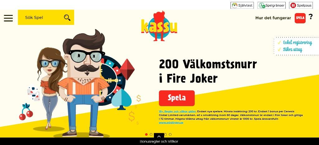 Förstasidan hos Kassu Casino med deras nuvarande bonuserbjudande