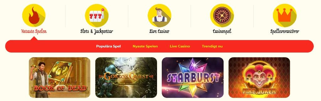 Tillgängliga spelkategorier hos Kassu Casino och populära titlar som Book of Dead och Starburst