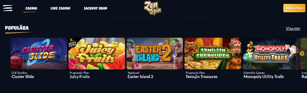 Populära spel hos ZenSpin med utvalda titlar och övriga spelkategorier