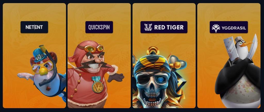 Urval av spelleverantörer hos ZenSpin casino med bland annat NetEnt och Quickspin tillsammans med spelkaraktärer