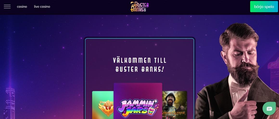 Förstasidan hos Buster Banks casino