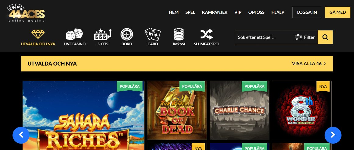 Förstasidan hos 44Aces casino med login och spelkategorier