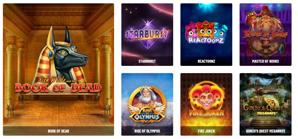 Populära utvalda spel hos Kazoom casino, som Book of Dead, Fire Joker och Starburst