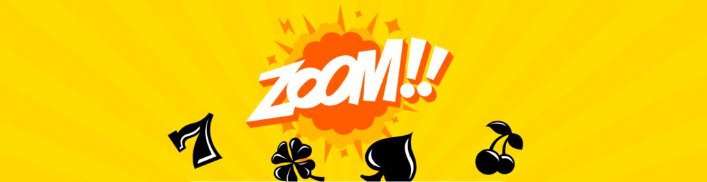 """Tecknad banner från Kazoom casino med texten """"ZOOM!!"""""""