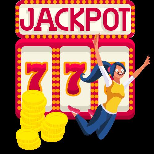 Glad spelare som vunnit på jackpot spin hos ett casino online