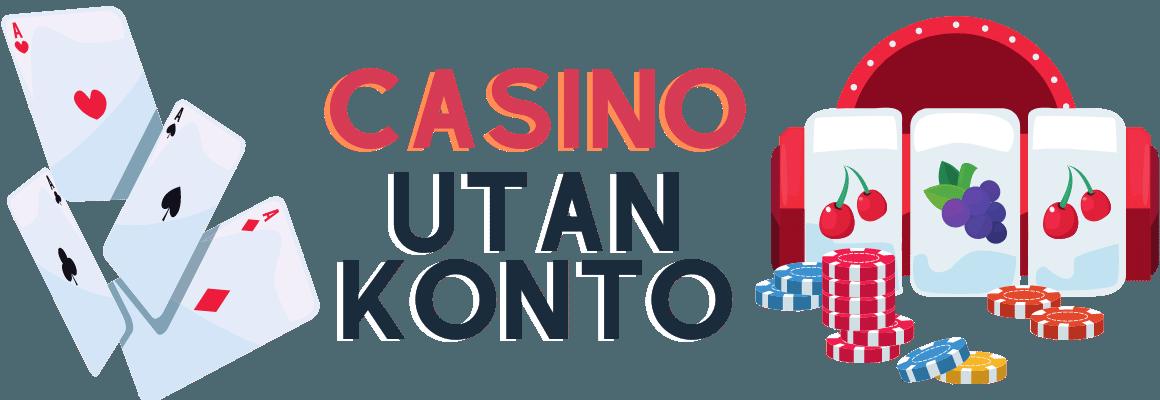 Texten Casino utan konto tillsammans med spelkort och en slotmaskin