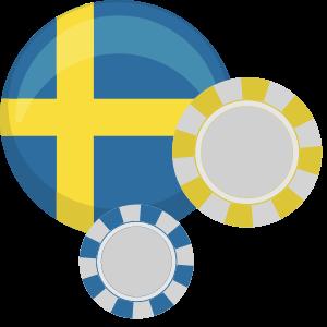 Svenska flaggan och spelmarker i blått och gult