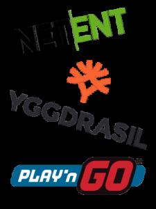 Logo för spelleverantörerna NetEnt, Yggdrasil coh Play'n GO